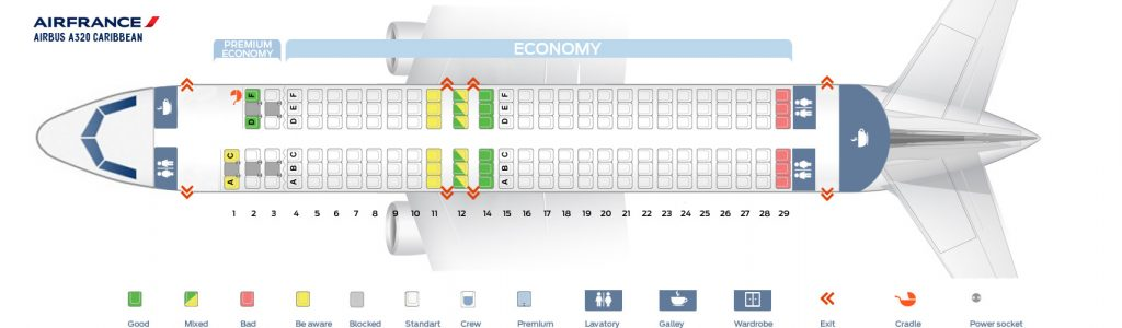 Seat Map and Seating Chart Airbus A320 200 Air France Caribbean Layout