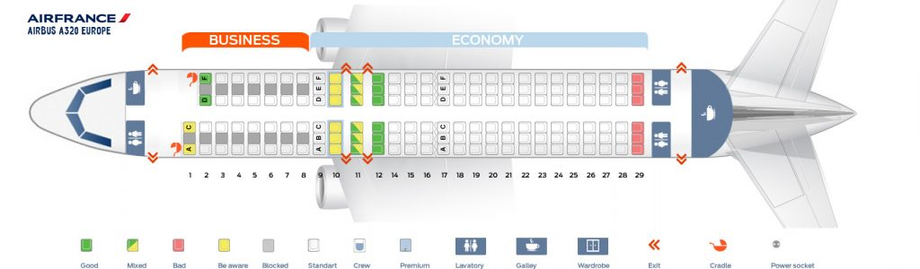 Seat Map and Seating Chart Airbus A320 200 Air France Europe Layout
