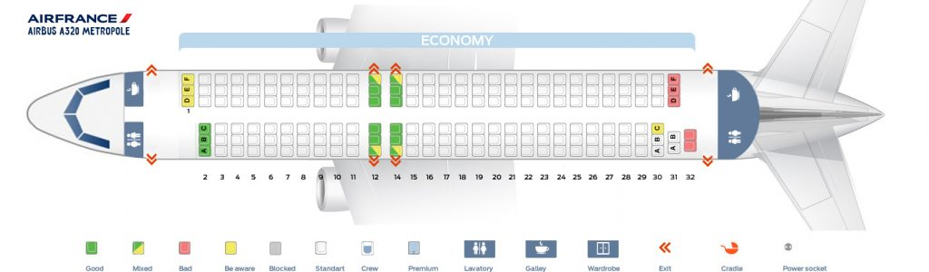 Seat Map and Seating Chart Airbus A320 200 Air France Metropole Layout