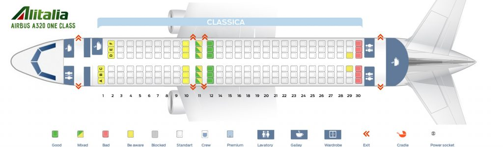 Seat Map and Seating Chart Airbus A320 200 Alitalia One Class Layout
