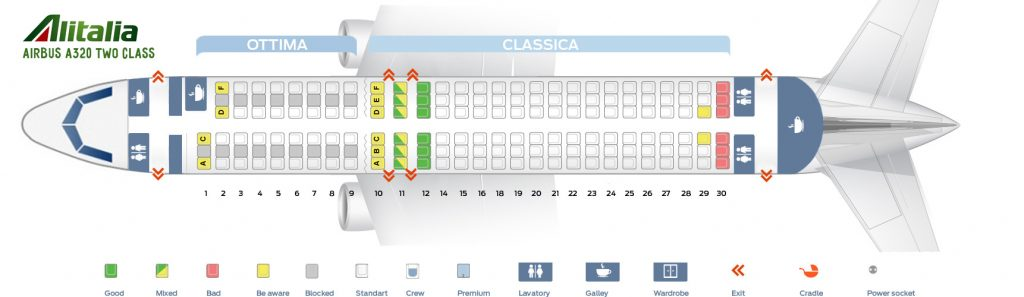 Seat Map and Seating Chart Airbus A320 200 Alitalia Two Class Layout