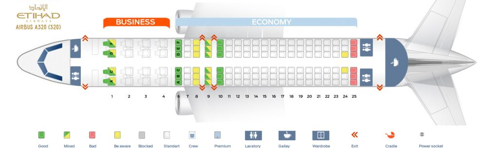 Seat Map and Seating Chart Airbus A320 200 Etihad Airways