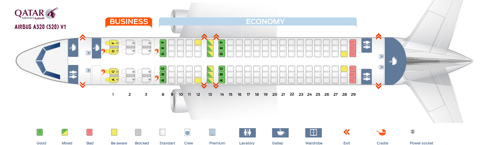 Seat Map And Seating Chart Airbus A320 200 Qatar Airways V1