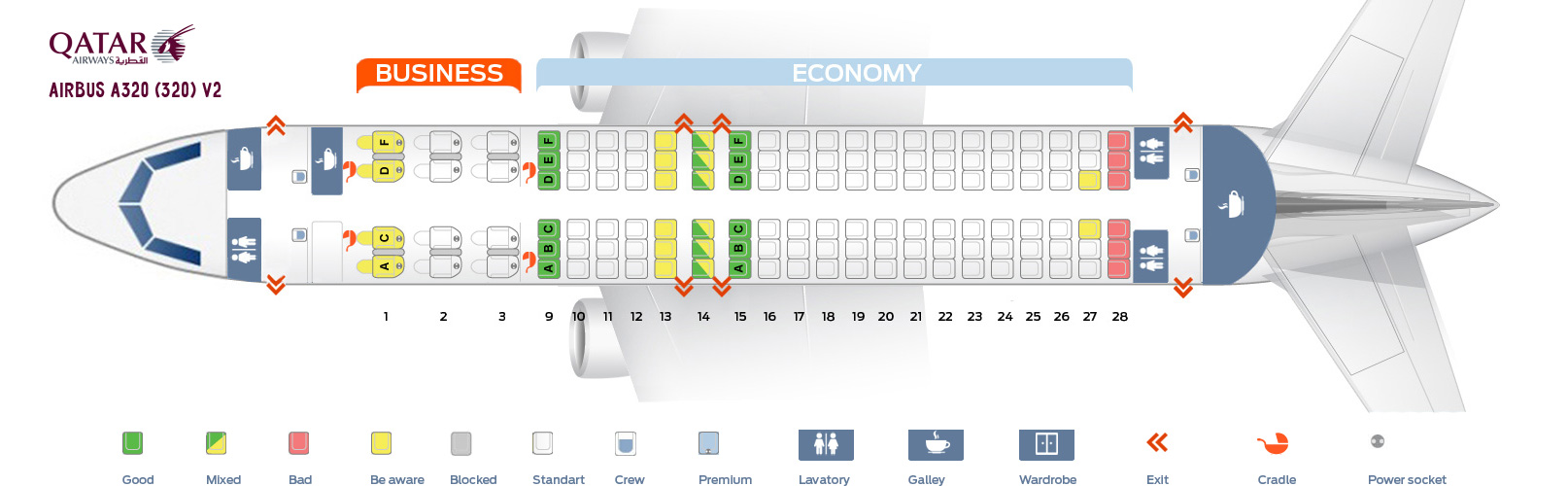 Seat Map And Seating Chart Airbus A320 200 Qatar Airways V2