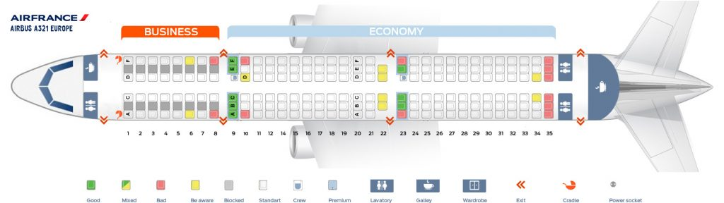 Seat Map and Seating Chart Airbus A321 100 200 Air France Europe Layout