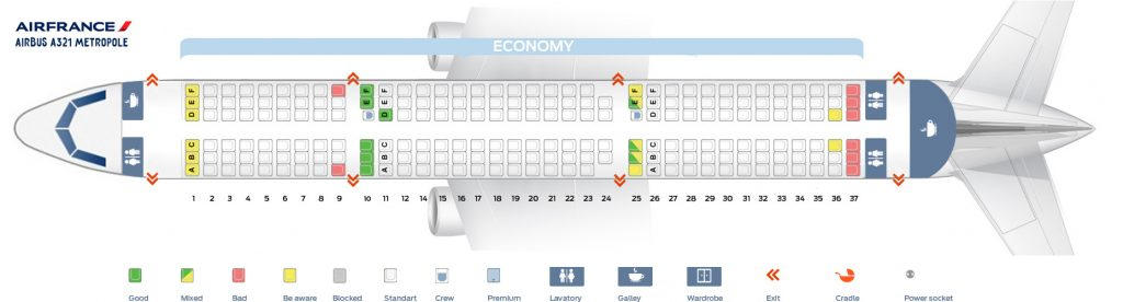 Seat Map and Seating Chart Airbus A321 100 200 Air France Metropole Layout