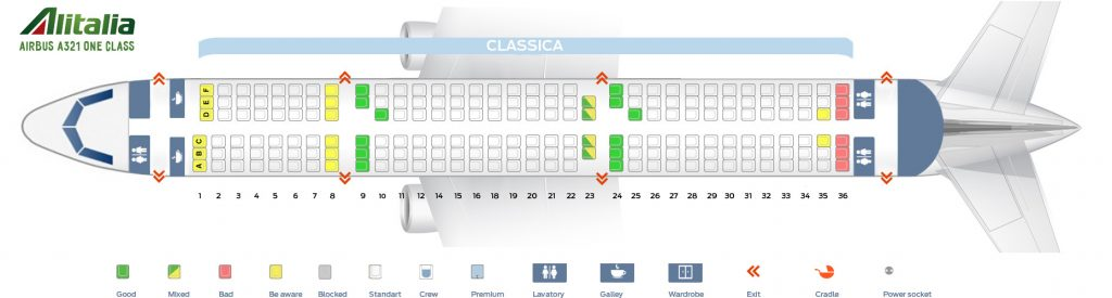 Seat Map and Seating Chart Airbus A321 100 Alitalia One Class Layout