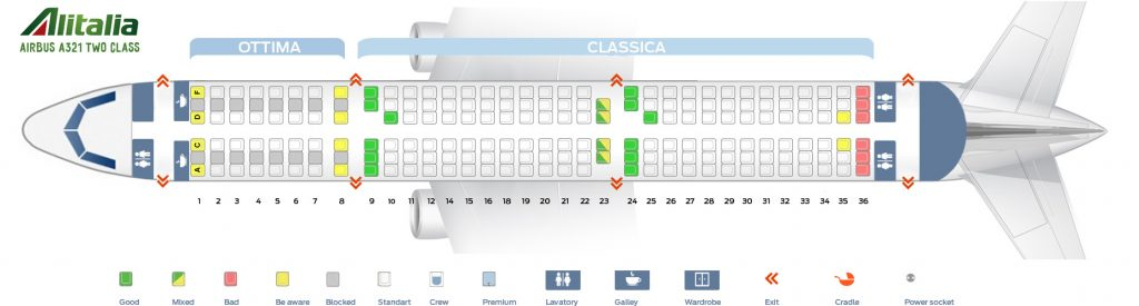 Seat Map and Seating Chart Airbus A321 100 Alitalia Two Class Layout