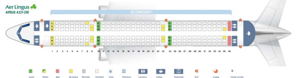 Seat Map and Seating Chart Airbus A321 200 Aer Lingus