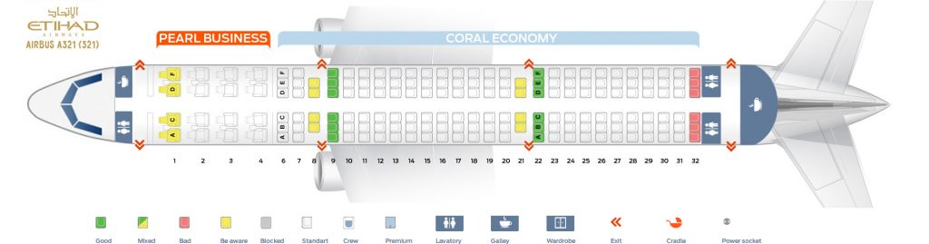 Seat Map and Seating Chart Airbus A321 200 Etihad Airways