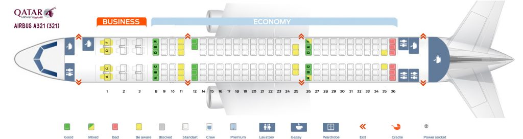 Seat Map and Seating Chart Airbus A321 200 Qatar Airways V1