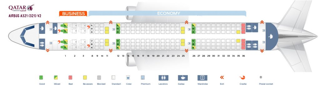 Seat Map and Seating Chart Airbus A321 200 Qatar Airways V2