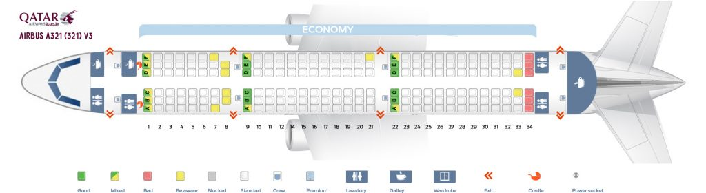 Seat Map and Seating Chart Airbus A321 200 Qatar Airways V3
