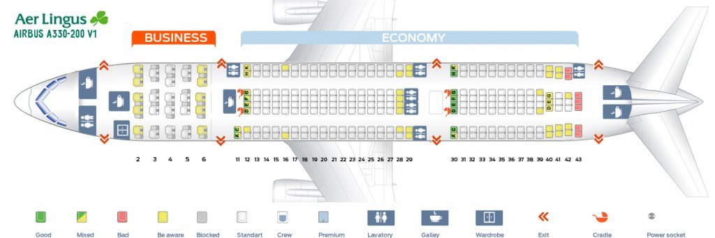 Seat Map and Seating Chart Airbus A330 200 Aer Lingus Version 1