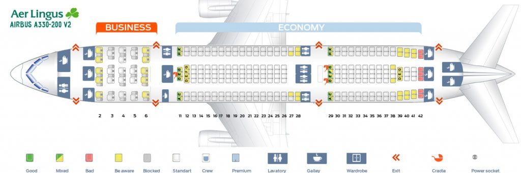 Seat Map and Seating Chart Airbus A330 200 Aer Lingus Version 2