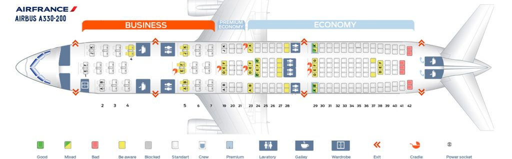 Seat Map and Seating Chart Airbus A330 200 Air France