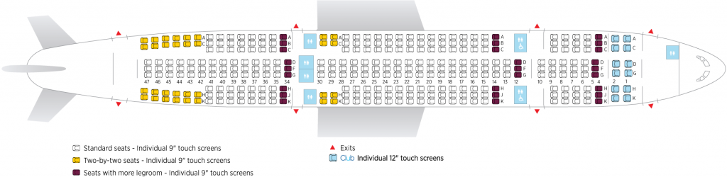 Seat Map and Seating Chart Airbus A330 200 Air Transat 332 seats