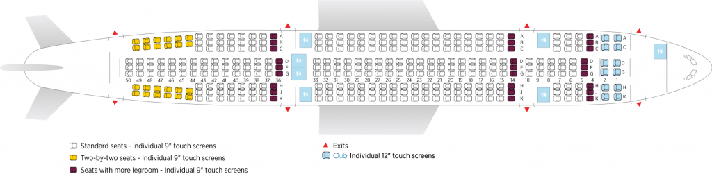 Seat Map and Seating Chart Airbus A330 200 Air Transat 345 seats