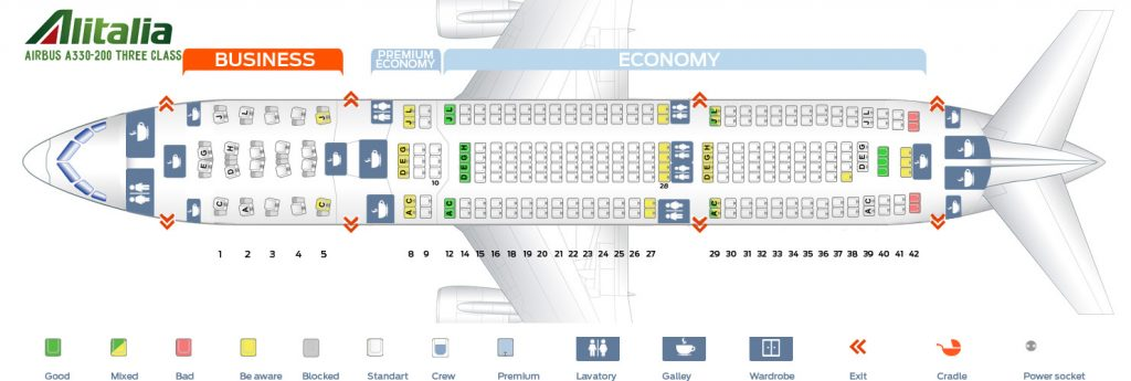 Seat Map and Seating Chart Airbus A330 200 Alitalia Three Class Layout