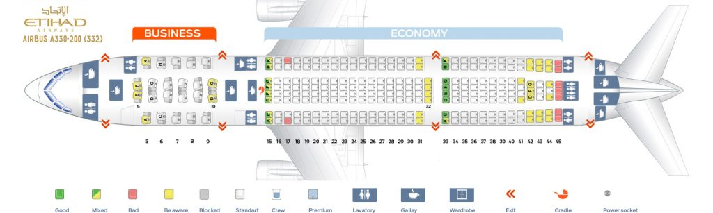 Seat Map and Seating Chart Airbus A330 200 Etihad Airways