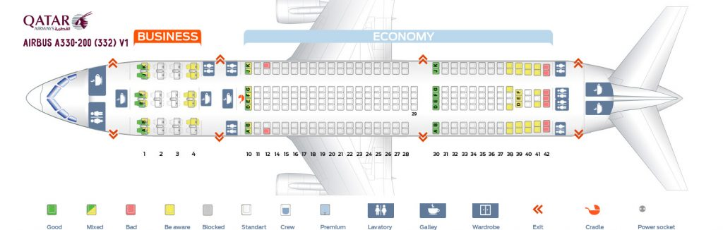 Seat Map and Seating Chart Airbus A330 200 Qatar Airways V1