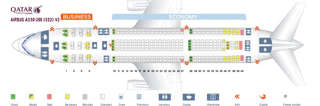 Seat Map and Seating Chart Airbus A330 200 Qatar Airways V2