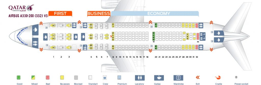 Seat Map and Seating Chart Airbus A330 200 Qatar Airways V3