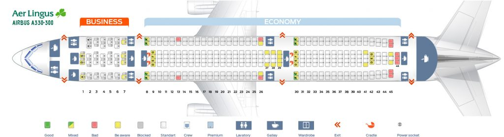 Seat Map and Seating Chart Airbus A330 300 Aer Lingus