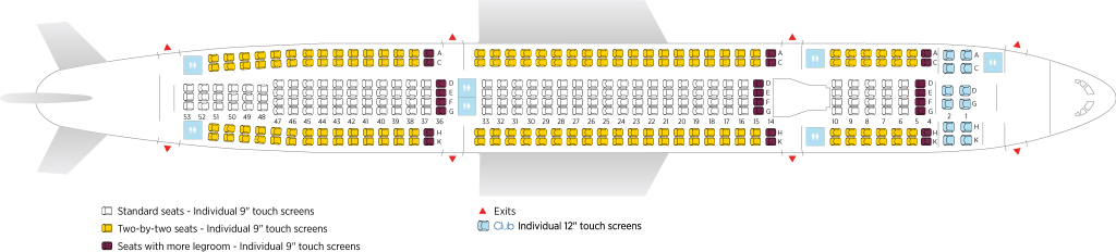 Seat Map and Seating Chart Airbus A330 300 Air Transat 346 seats