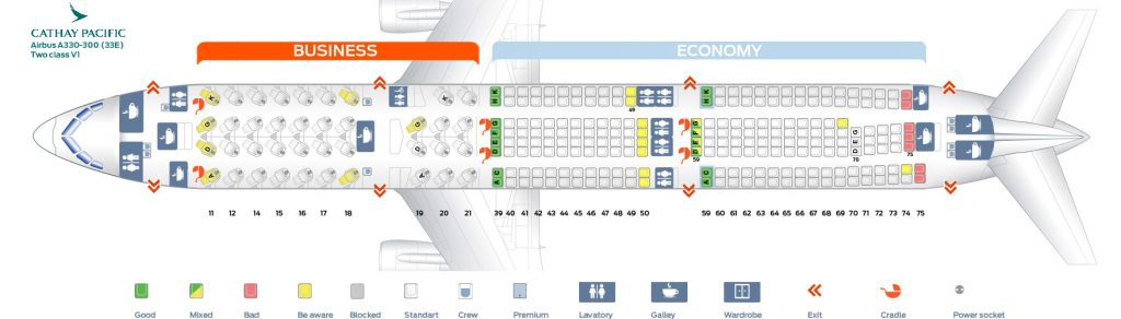 Seat Map and Seating Chart Airbus A330 300 Cathay Pacific 33E Two Class V1