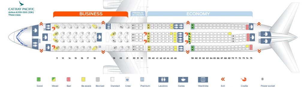 Seat Map and Seating Chart Airbus A330 300 Cathay Pacific 33K Three class
