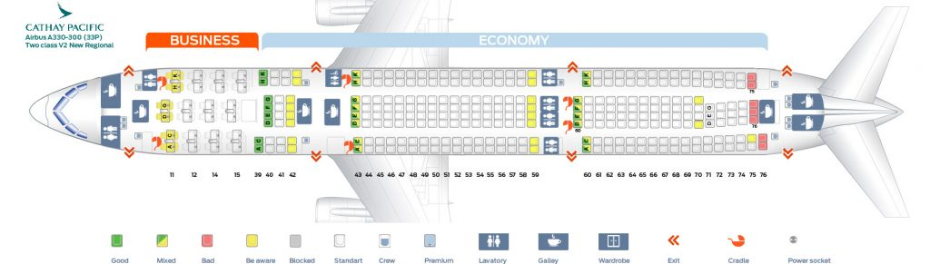 Seat Map and Seating Chart Airbus A330 300 Cathay Pacific 33P Two class V2 New Regional