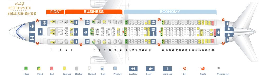Seat Map and Seating Chart Airbus A330 300 Etihad Airways