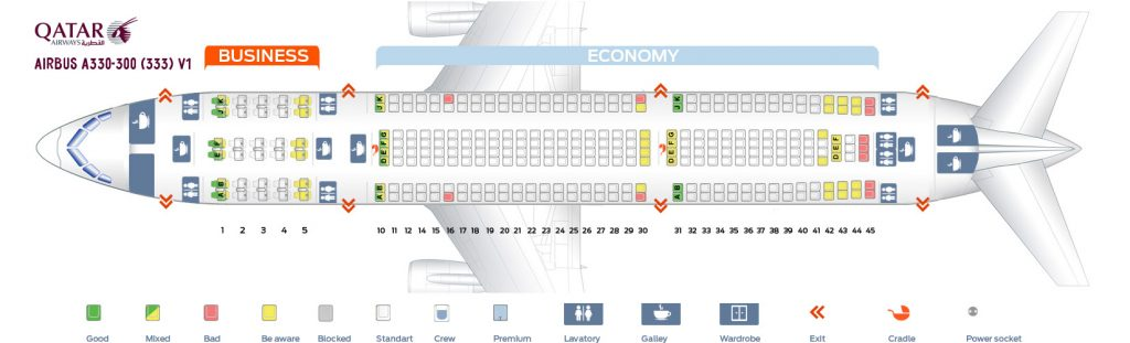 Seat Map and Seating Chart Airbus A330 300 Qatar Airways V1