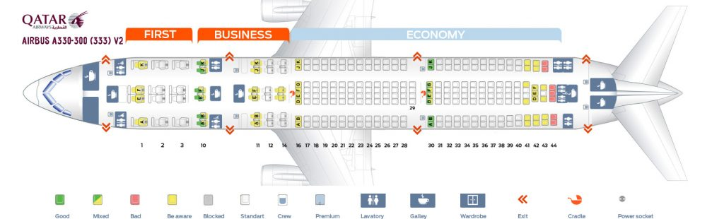 Seat Map and Seating Chart Airbus A330 300 Qatar Airways V2