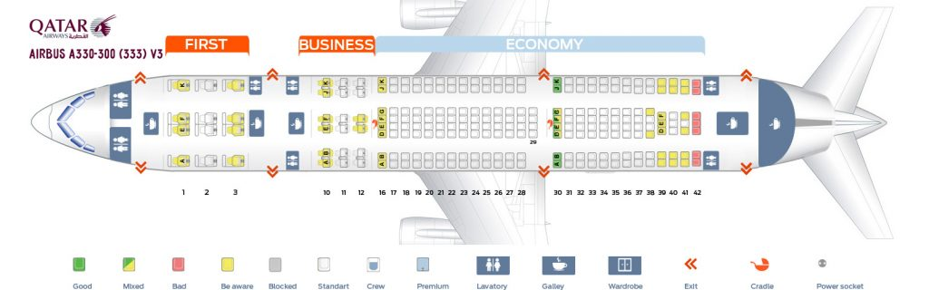 Seat Map and Seating Chart Airbus A330 300 Qatar Airways V3