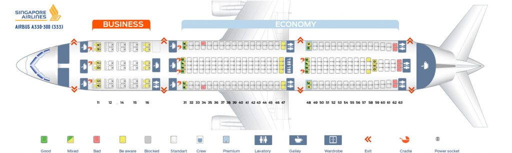 Seat Map and Seating Chart Airbus A330 300 Singapore Airlines