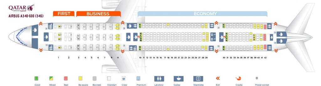 Seat Map and Seating Chart Airbus A340 600 Qatar Airways