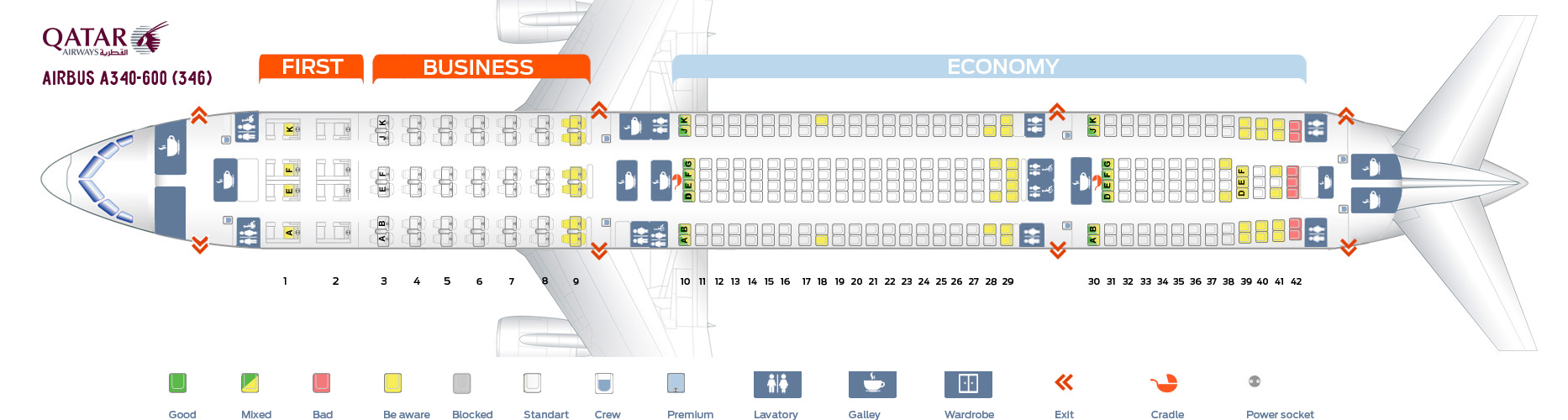 A340 Seat Map Bedroom 2018