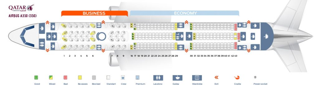 Seat Map and Seating Chart Airbus A350 900 Qatar Airways