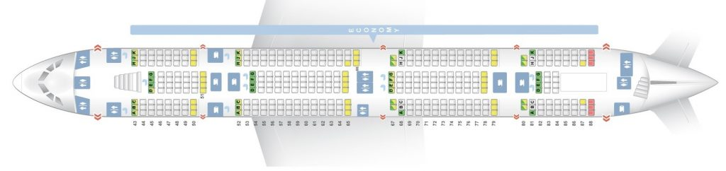 Seat Map and Seating Chart Airbus A380 800 Emirates Three Class V1 Lower Deck