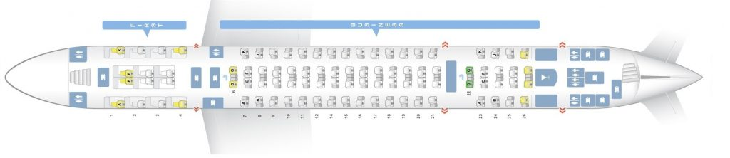Seat Map and Seating Chart Airbus A380 800 Emirates Three Class V1 Upper Deck