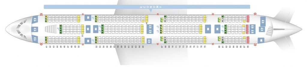 Seat Map and Seating Chart Airbus A380 800 Emirates Three Class V2 Lower Deck