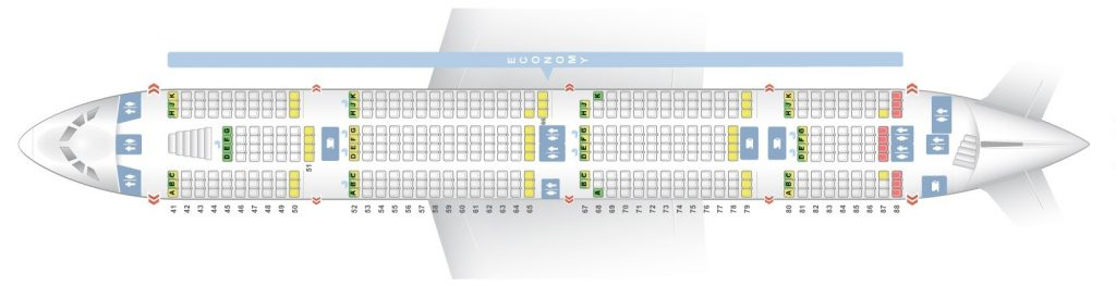 Seat Map and Seating Chart Airbus A380 800 Emirates Two Class Lower Deck