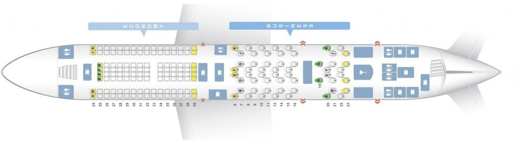 Seat Map and Seating Chart Airbus A380 800 Emirates Two Class Upper Deck