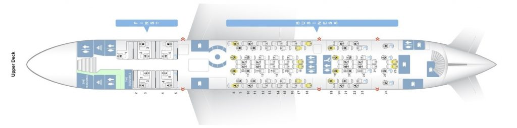Seat Map and Seating Chart Airbus A380 800 Upper Deck Etihad Airways