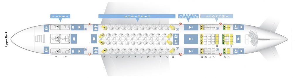 Seat Map and Seating Chart Airbus A380 800 Upper Deck Qatar Airways