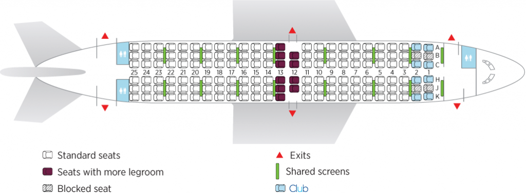 Seat Map and Seating Chart Boeing 737 700 Air Transat on domestic flights within Canada