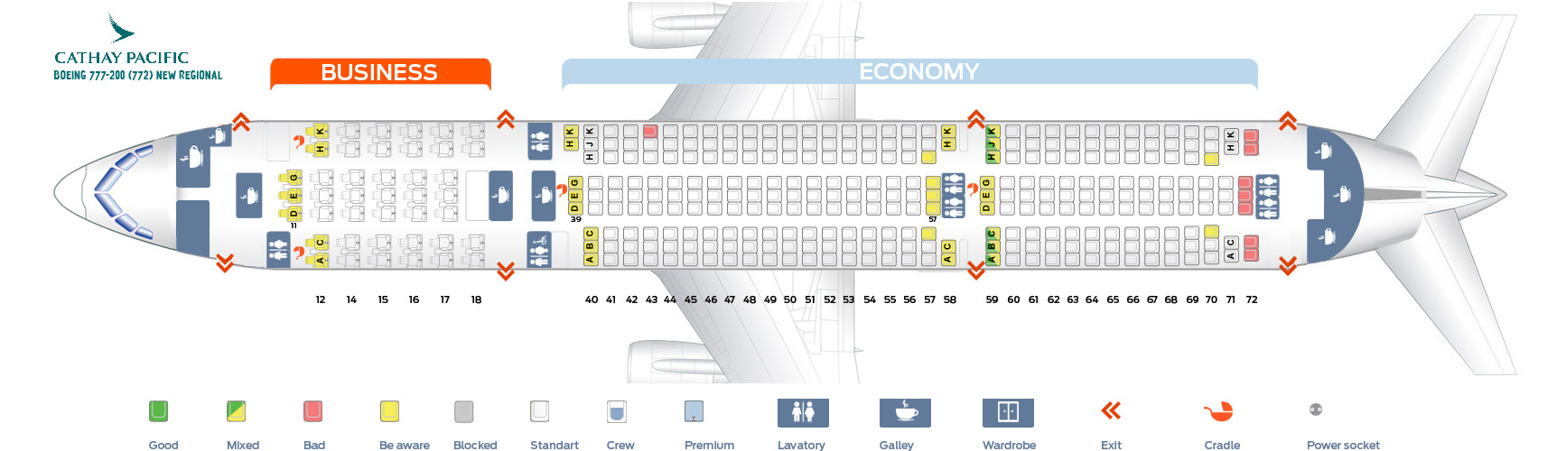 Seat Map And Seating Chart Boeing 777 200 Cathay Pacific