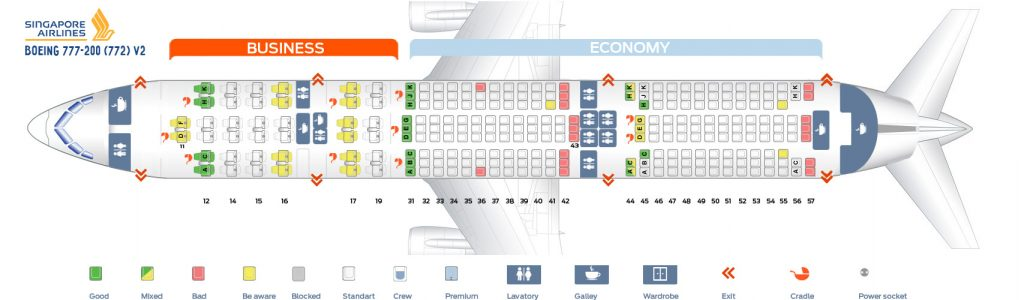 Seat Map and Seating Chart Boeing 777 200 Singapore Airlines